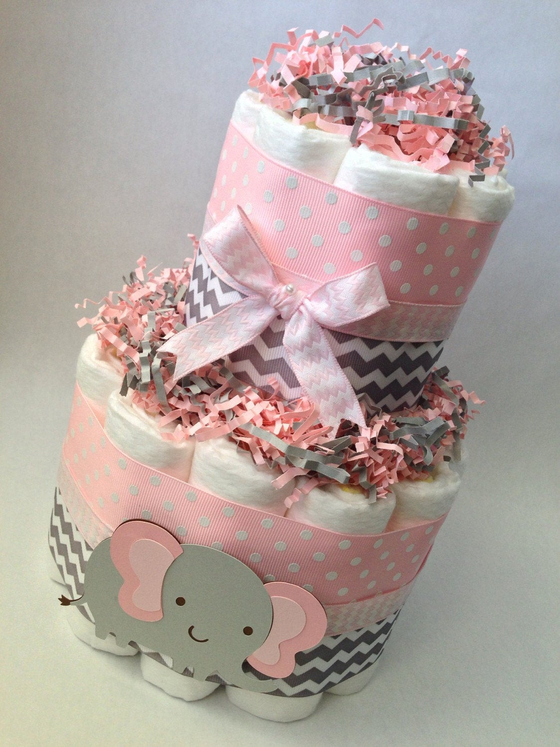 DIY Baby Shower Cakes  Pink and Grey Elephant Diaper Cake Baby Shower Centerpiece