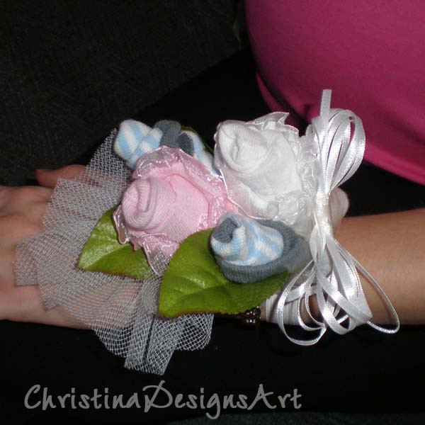 DIY Baby Shower Corsages  Baby Shower Diaper Cakes & Sock Corsages