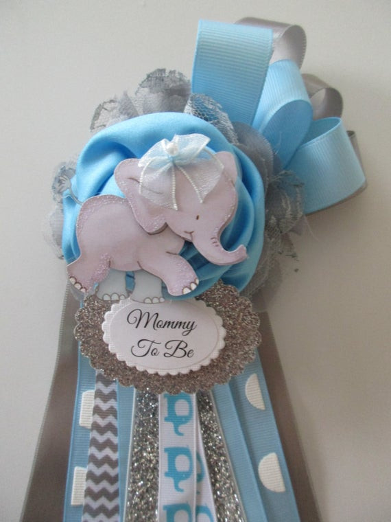 DIY Baby Shower Corsages  Elephant Mommy To Be Corsage Baby BOY Baby Shower Corsage