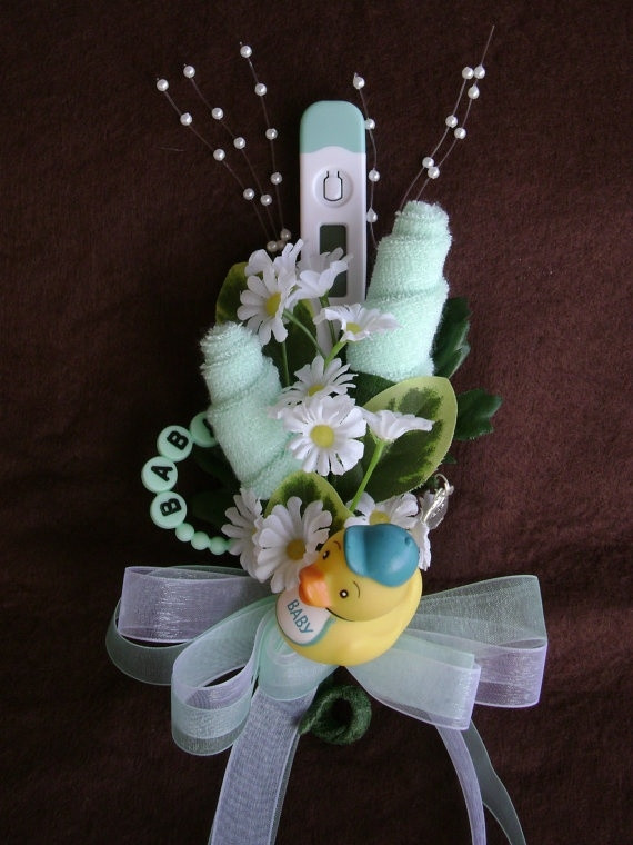 DIY Baby Shower Corsages  Baby Washcloth Corsage Boy or Girl Baby Shower by