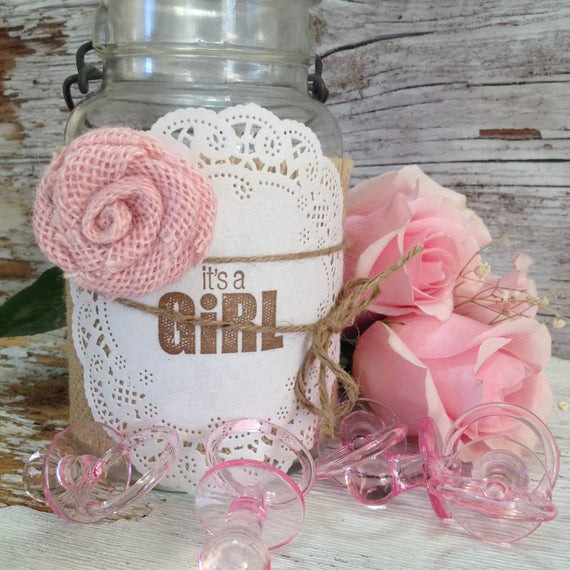 DIY Baby Shower Decorations For Girls  DIY Baby Shower Decorations for 10 Jars by DenaDanielleDesigns
