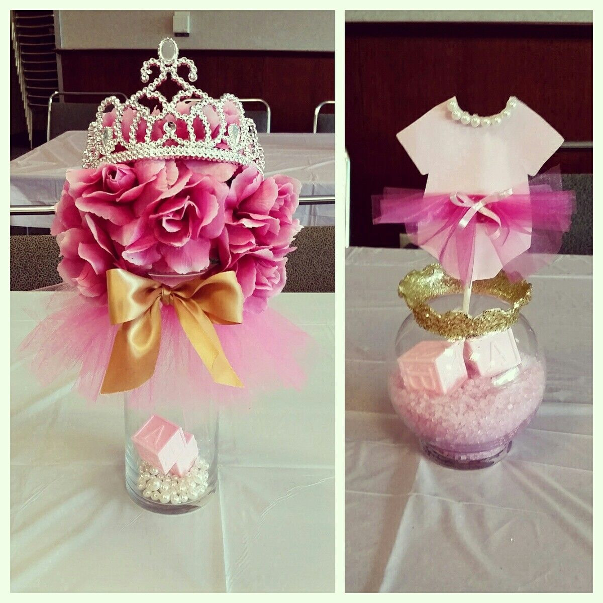 DIY Baby Shower Decorations For Girls  Tutus & Tiaras Baby Shower centerpieces pinkandgold