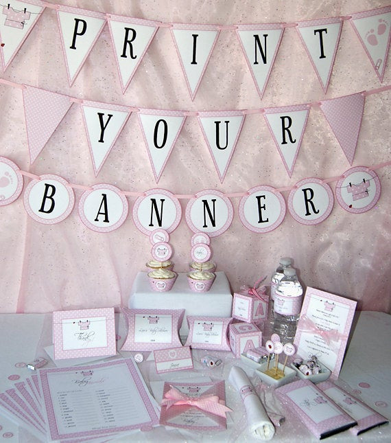DIY Baby Shower Decorations For Girls  Girl Baby Shower Printable Set Pink Baby Shower Decoration