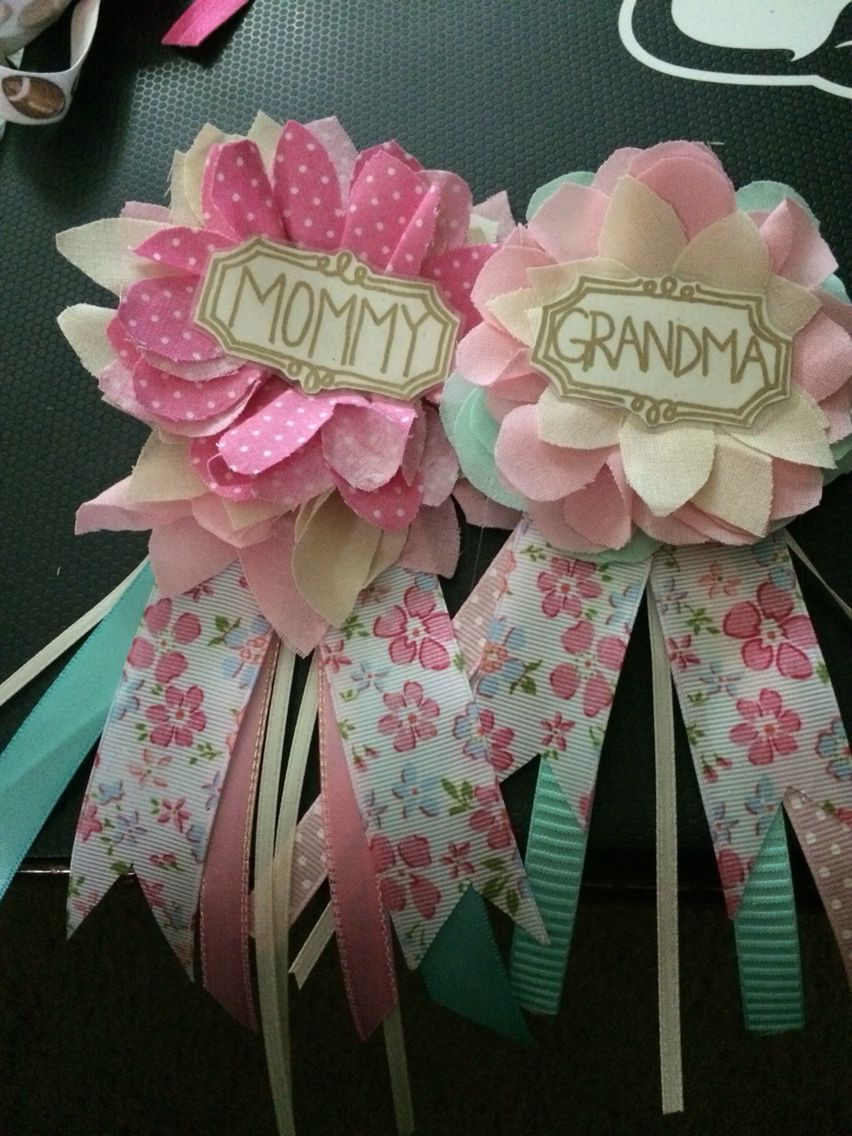 DIY Baby Shower Decorations For Girls  Mommy and grandma corsages for Emilys baby shower