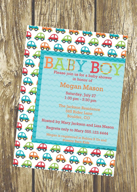 DIY Baby Shower Invitations Free  Cute Little Cars Baby Boy Shower Invitation DIY Printable