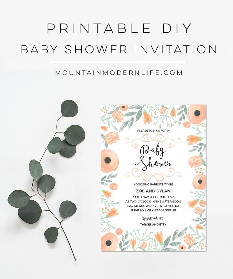 DIY Baby Shower Invitations Free  Printable Floral DIY Baby Shower Invitation