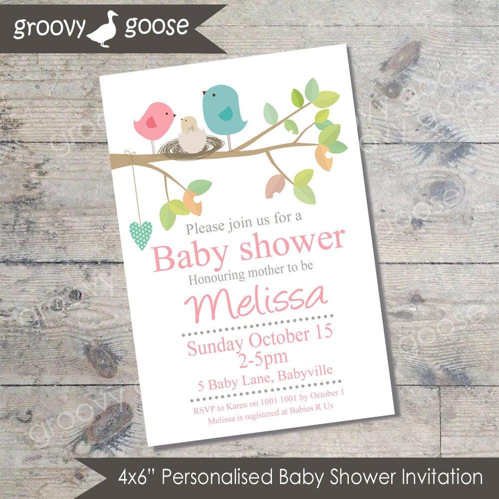 DIY Baby Shower Invitations Free  Bird Nest Baby Shower invitation PINK DIY Printable Baby