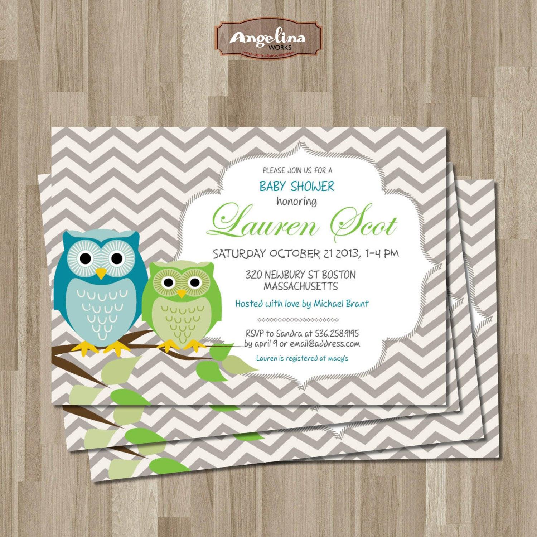 DIY Baby Shower Invitations Free  OWLS Baby Shower Invitation DIY card Digital Printable card