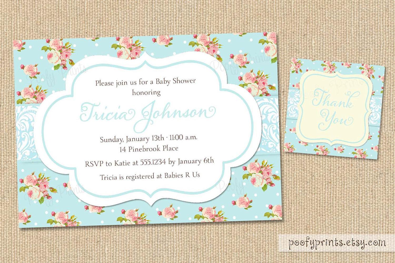 DIY Baby Shower Invitations Free  Shabby Chic Baby Shower Invitations DIY Printable by