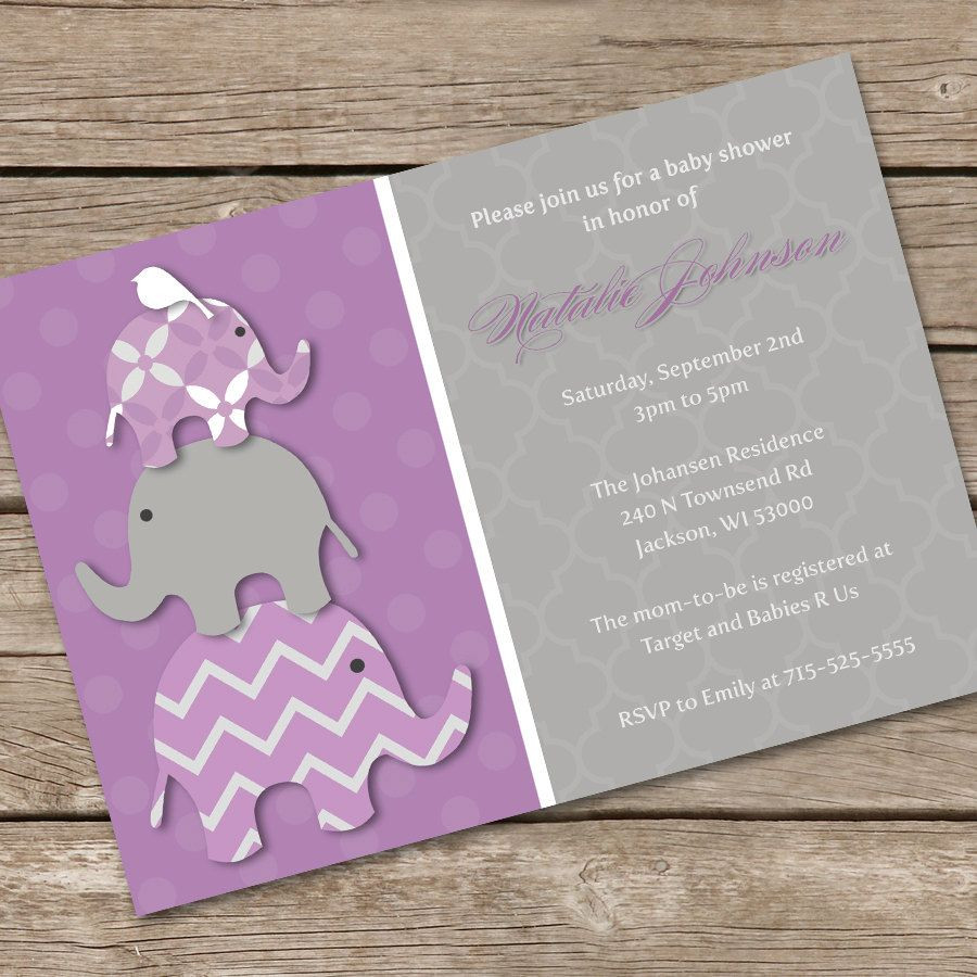 DIY Baby Shower Invitations Free  Stacked Purple Elephants Baby Shower Invitation DIY