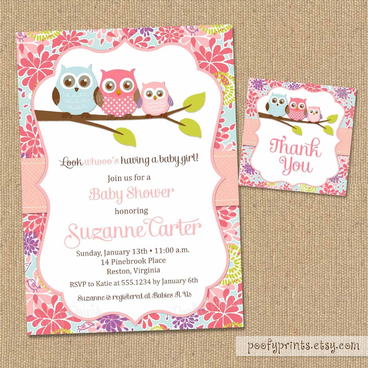 DIY Baby Shower Invitations Free  Owl Baby Shower Invitations DIY Printable Baby by PoofyPrints