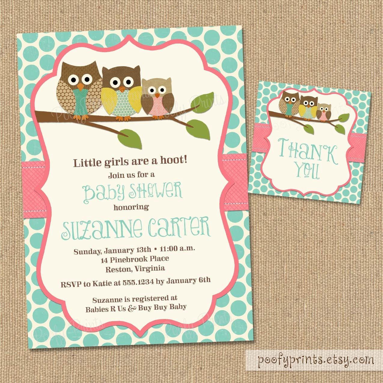 DIY Baby Shower Invitations Free  Owl Baby Shower Invitations DIY Printable Baby Girl Shower