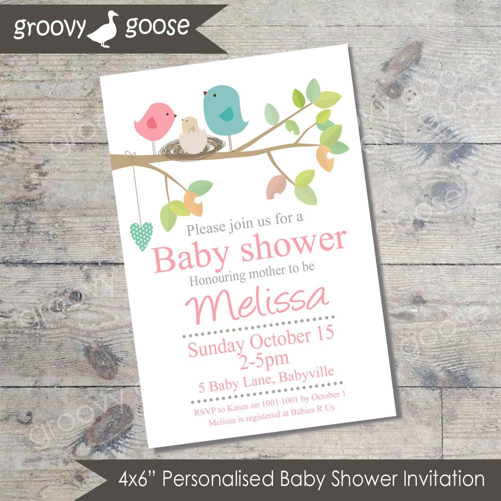 DIY Baby Shower Invites  Bird Nest Baby Shower invitation PINK DIY Printable Baby