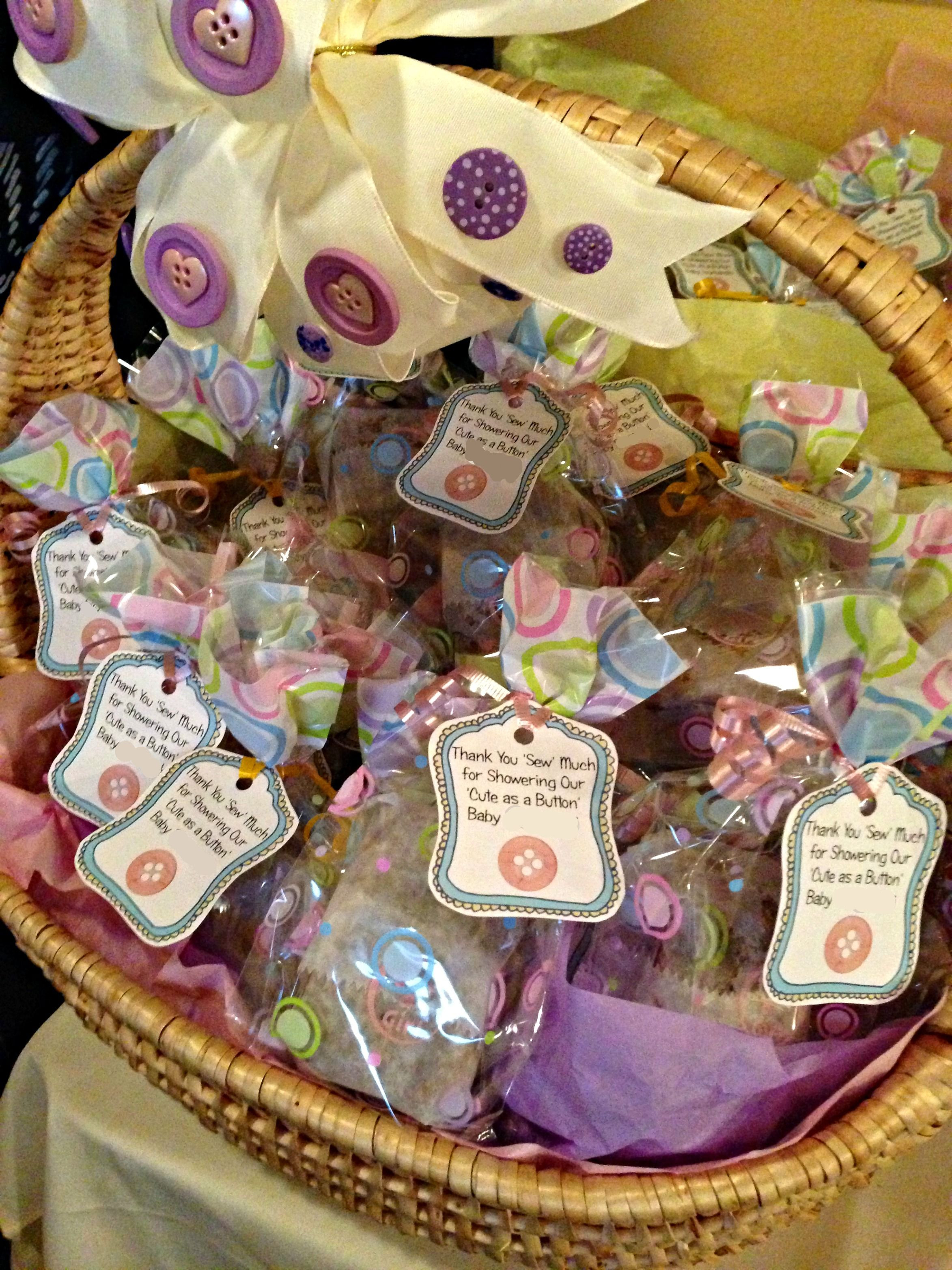 """DIY Baby Shower Party Favors  Cute As A Button baby shower favors """"Thank you SEW much"""
