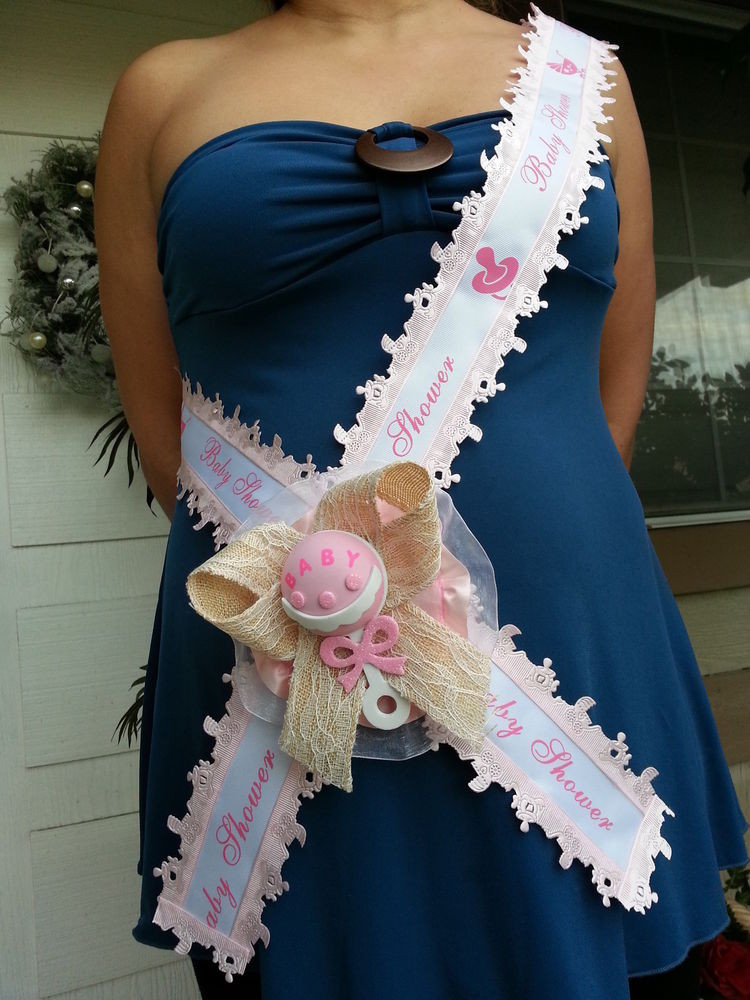 DIY Baby Shower Sash  Baby Shower Mom To Be It s a Girl Sash Pink With Rattle