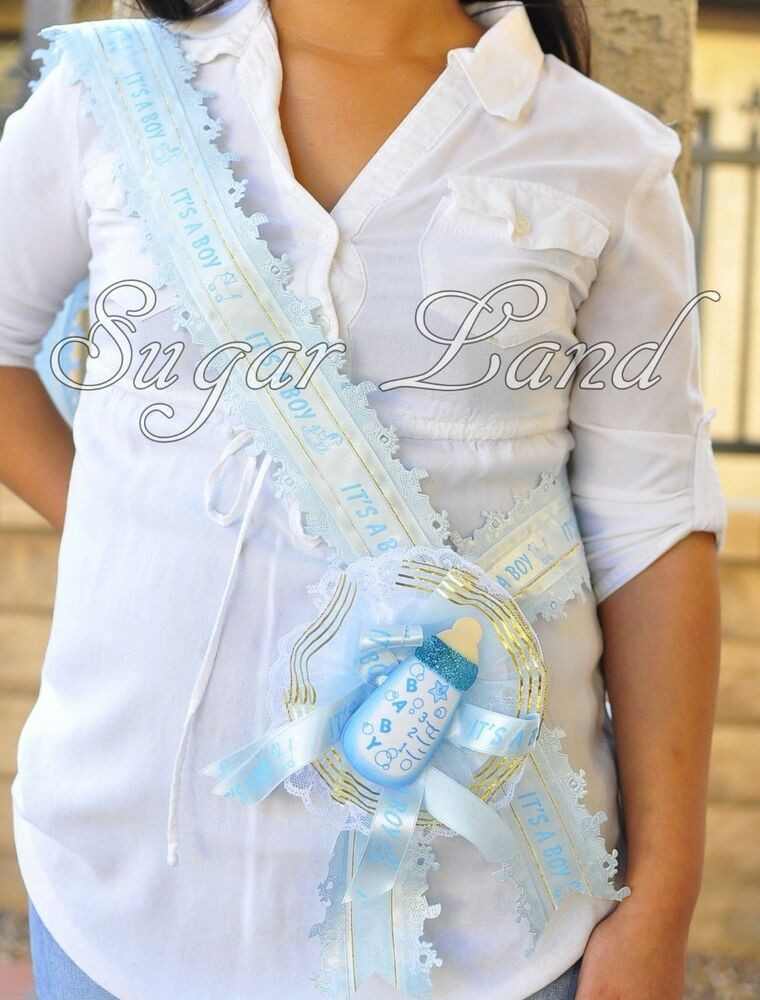 DIY Baby Shower Sash  Baby Shower Mother Mom To Be It s A Boy Blue Sash Banner