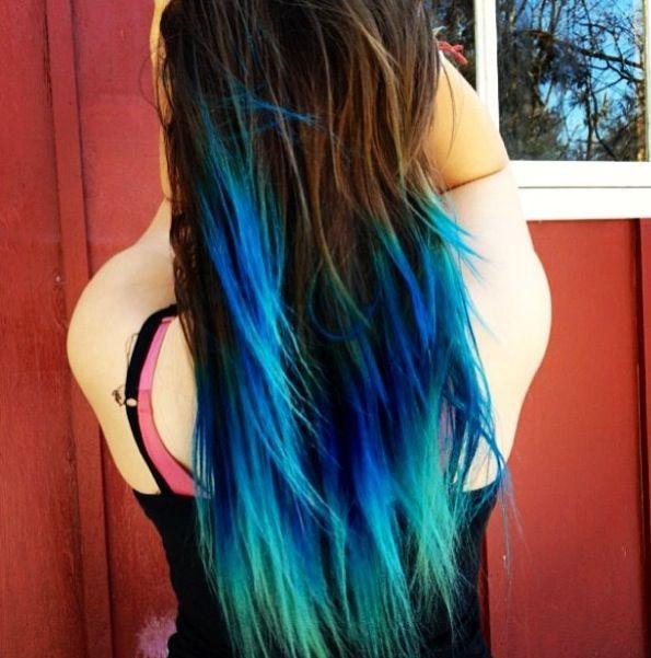 DIY Brown Hair Dye  DIY turquoise teal blue ombre hair dye for brown layered