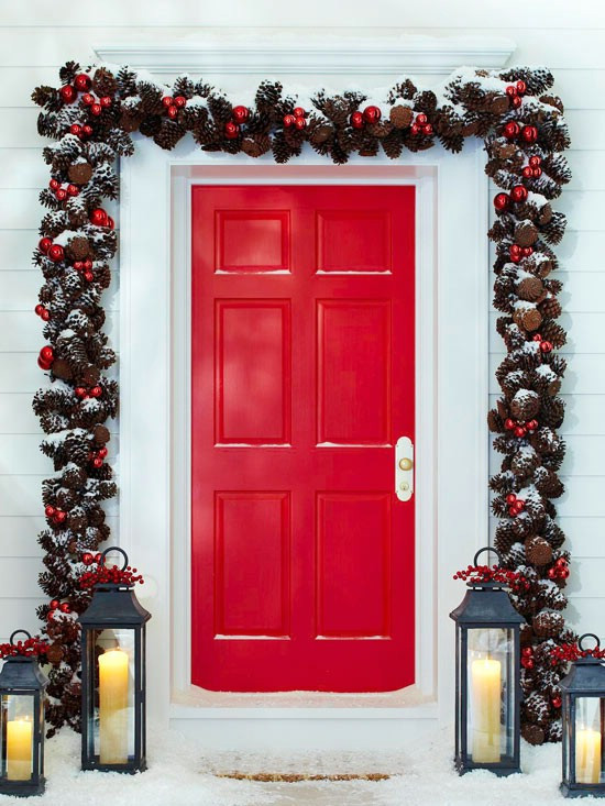 DIY Christmas Door Decoration  60 Beautifully Festive Ways to Decorate Your Porch for