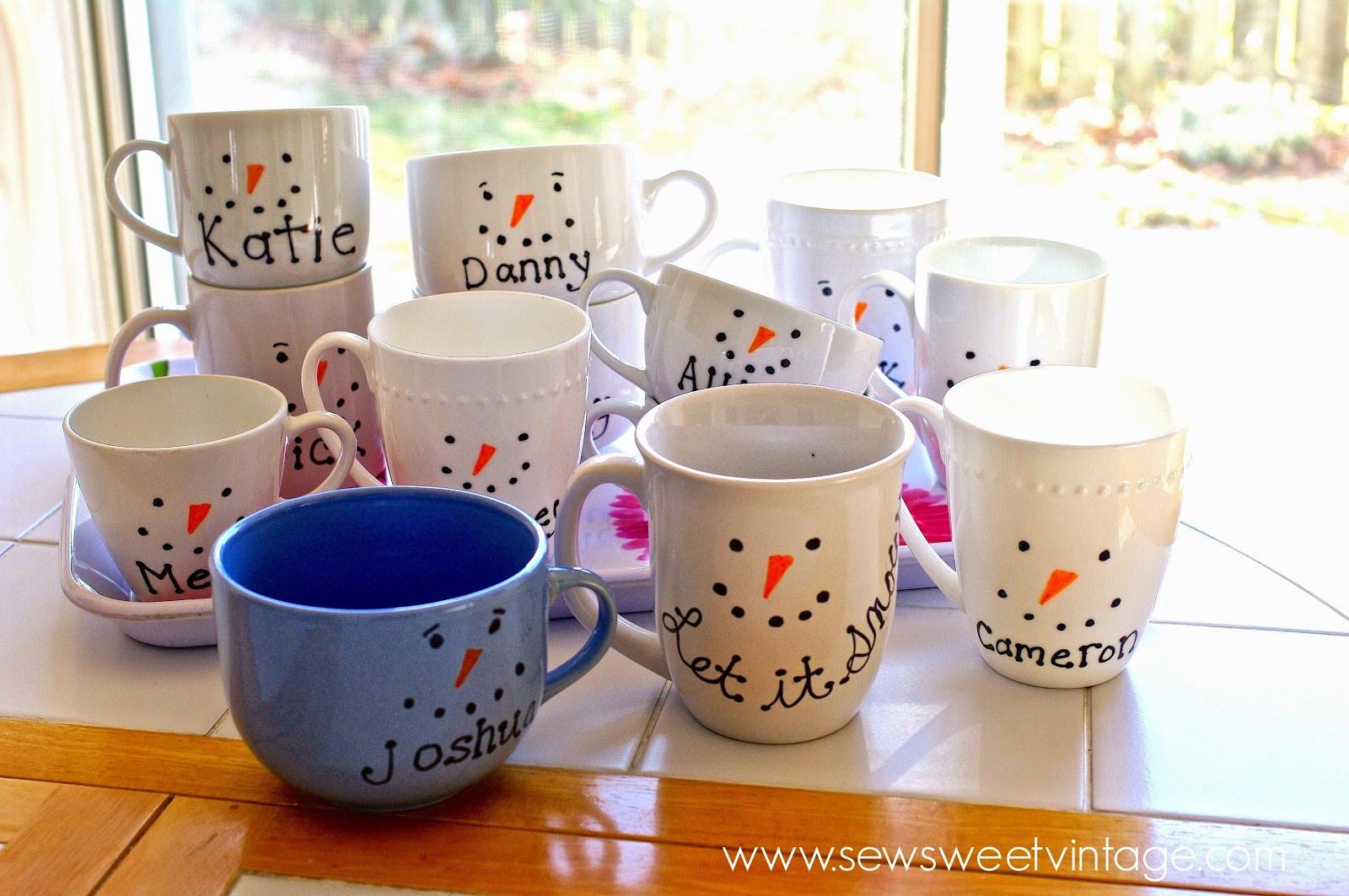 DIY Christmas Mug  Sew Sweet Vintage sharpie snowman mug