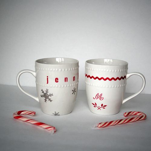 DIY Christmas Mug  Dollar Store Stenciled Gift Mugs