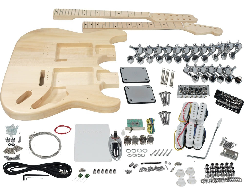 DIY Double Neck Guitar Kit  Solo ST Style DIY Guitar Kit Double Neck Basswood Body