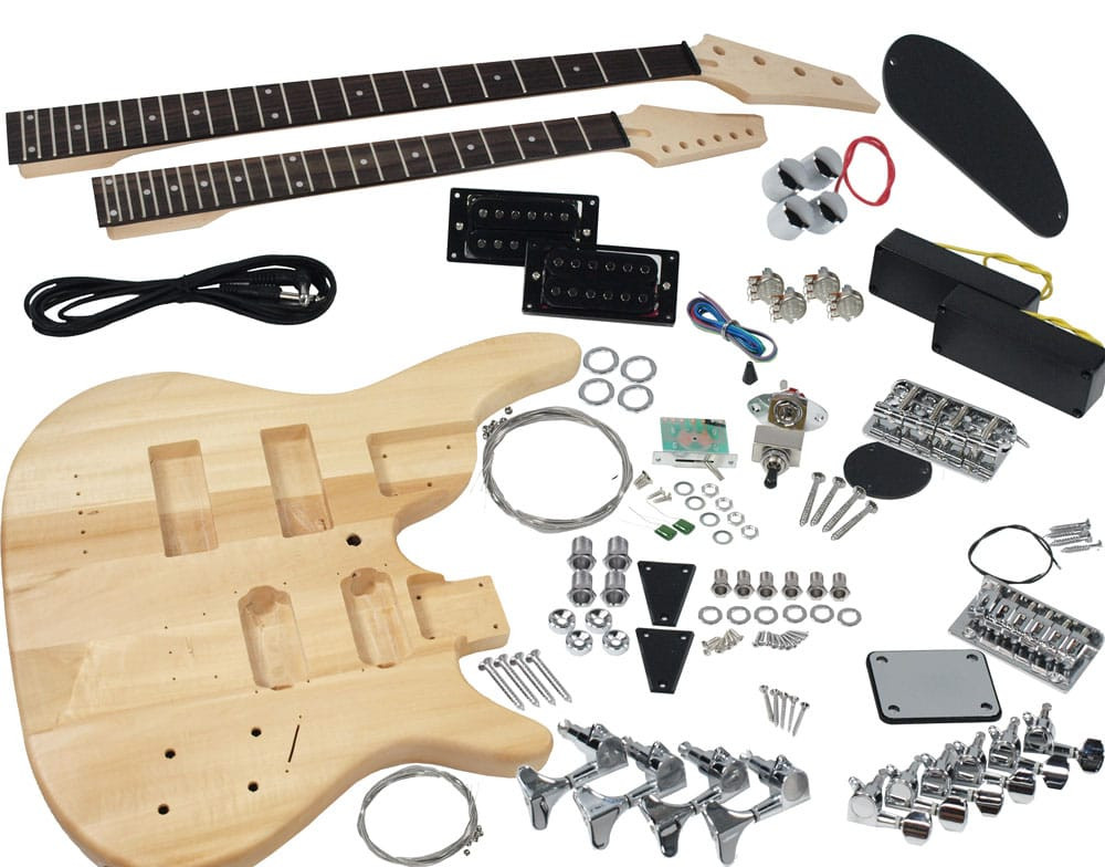 DIY Double Neck Guitar Kit  Solo DJMBK 1 DIY Electric Guitar & Bass Double Neck Kit