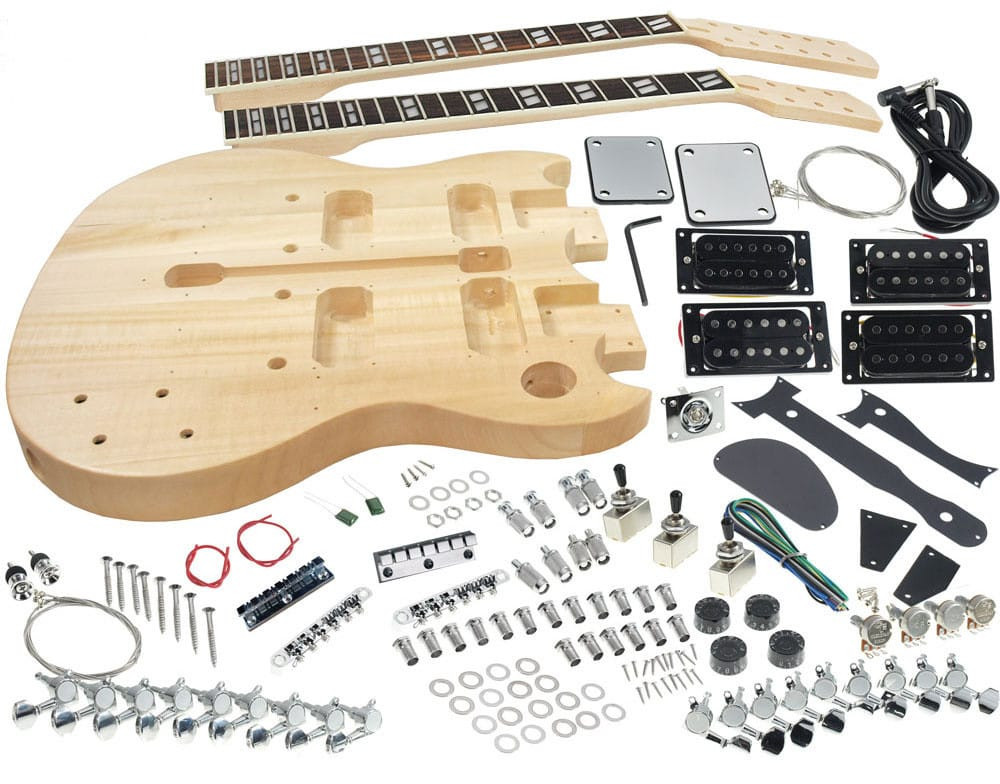 DIY Double Neck Guitar Kit  Solo SG Style DIY Guitar Kit Double Neck Basswood Body