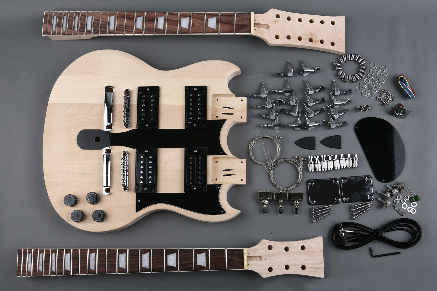 DIY Double Neck Guitar Kit  Solid wood Double Neck Electric Guitar Kit DIY GK SBD 10