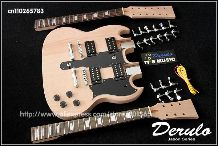 DIY Double Neck Guitar Kit  DIY Electric Double Neck Guitar Kit Bolt Solid Mahogany