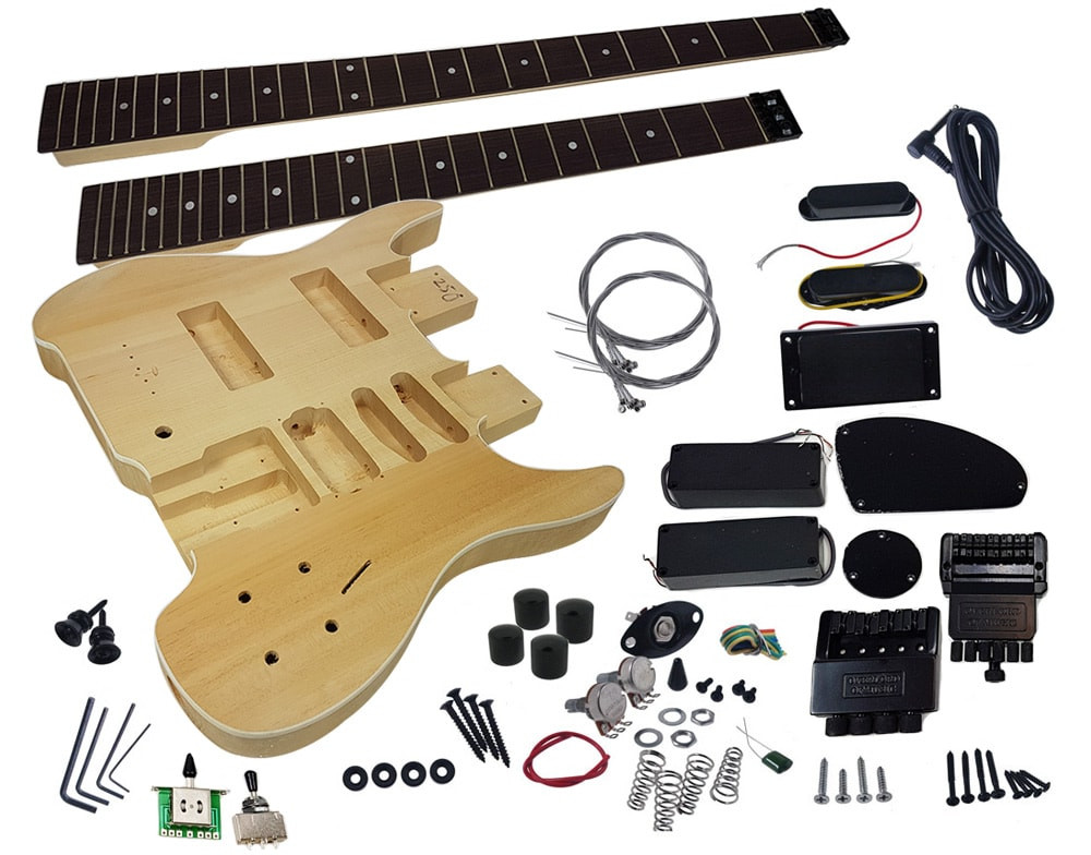 DIY Double Neck Guitar Kit  Solo DSBK 10 DIY Electric Guitar & Bass Double Neck Guitar