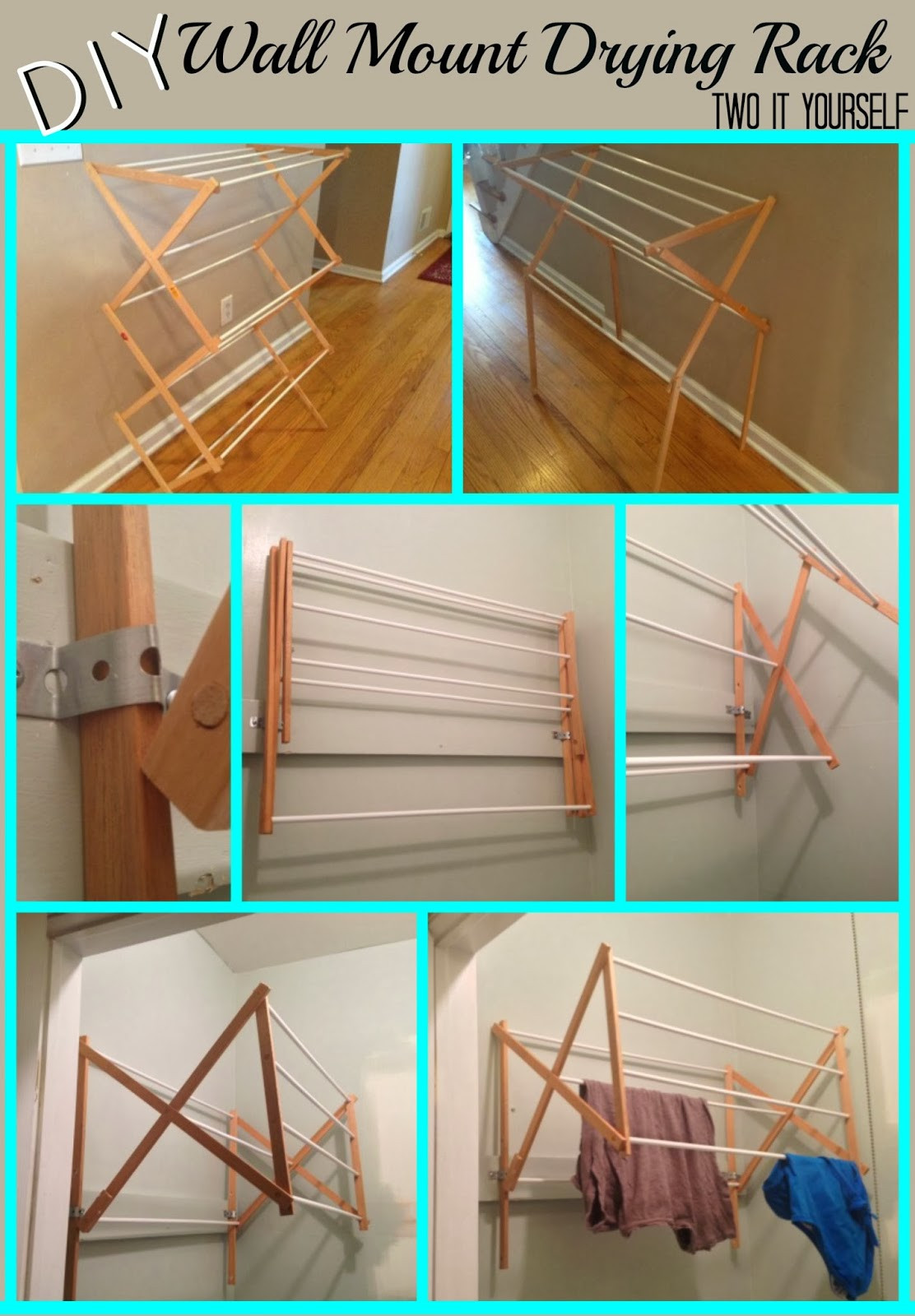 DIY Drying Rack  Two It Yourself DIY Laundry Drying Rack Wall Mount from