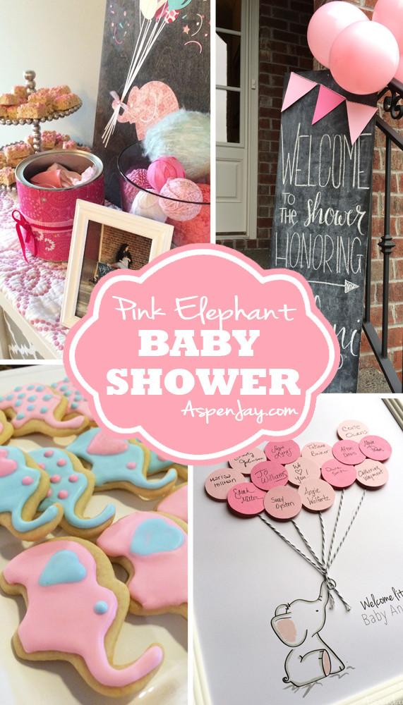 DIY Elephant Baby Shower Decorations  Pink Elephant Baby Shower Aspen Jay