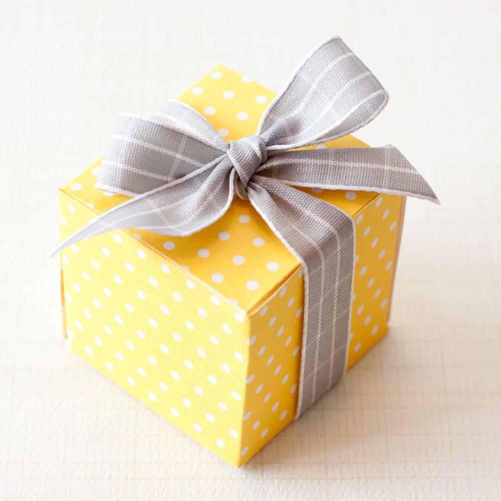 DIY Favor Box  Sunshine Yellow Polka Dot PRINTABLE DIY Gift Box