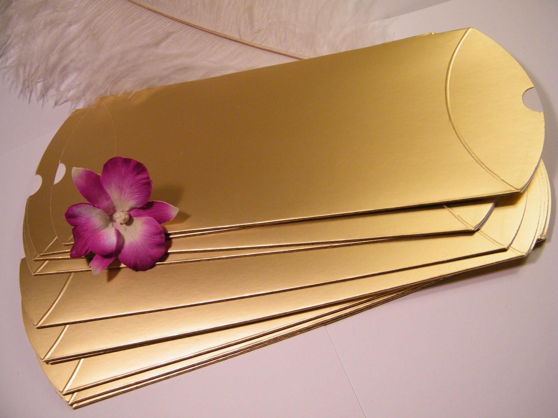 DIY Favor Box  12 Gold Pillow Favor Boxes DIY Wedding favors 5 X 2