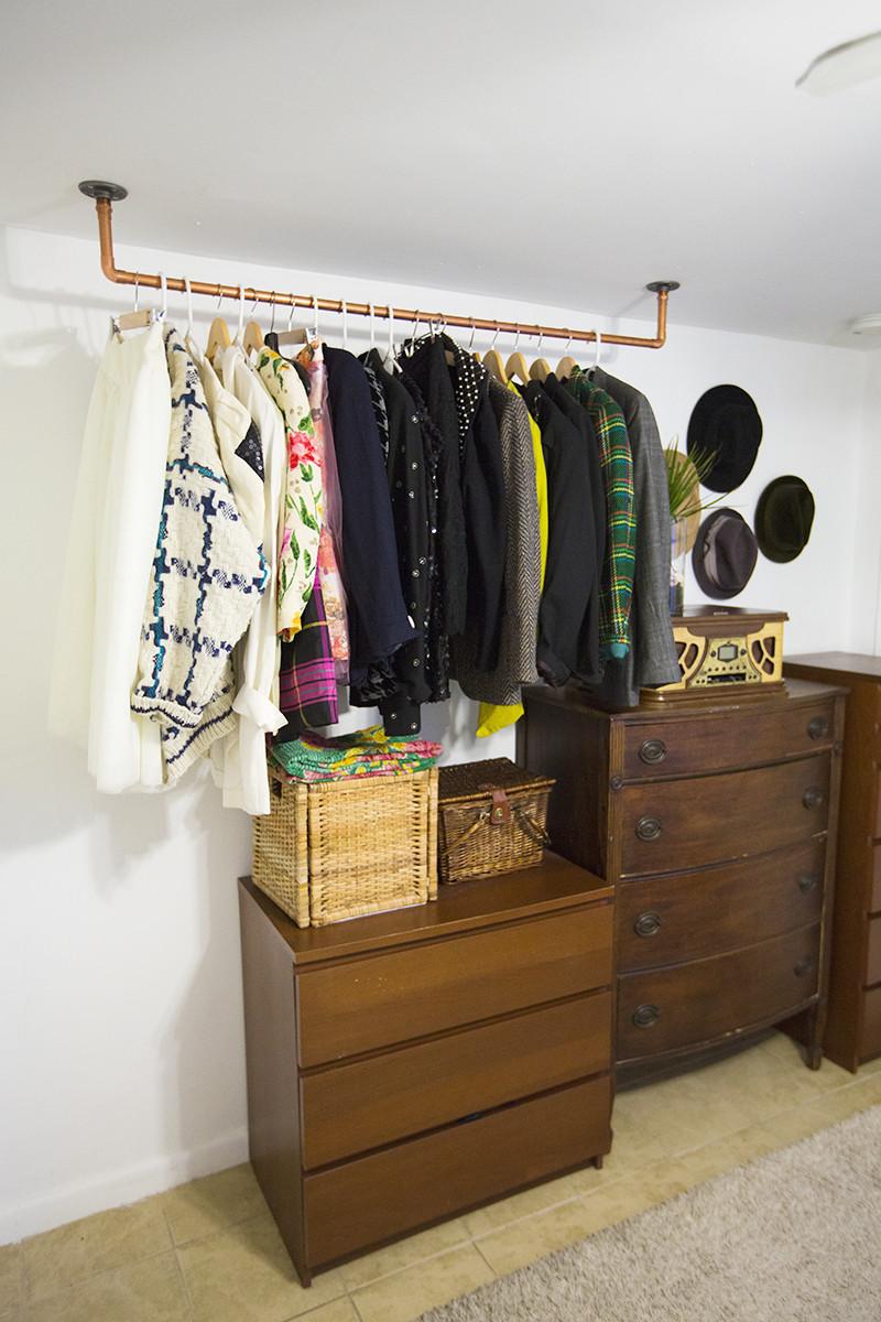 DIY Hanger Rack  Hanging Copper Pipe Clothing Rack DIY – A Beautiful Mess