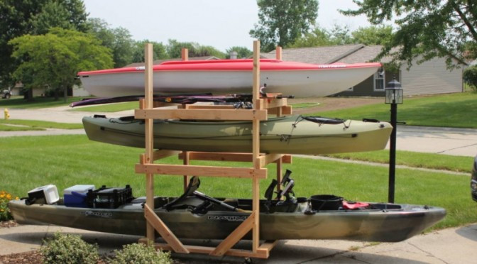 DIY Kayak Storage Rack  DIY Rolling Kayak Storage Rack 2x4s and caster wheels