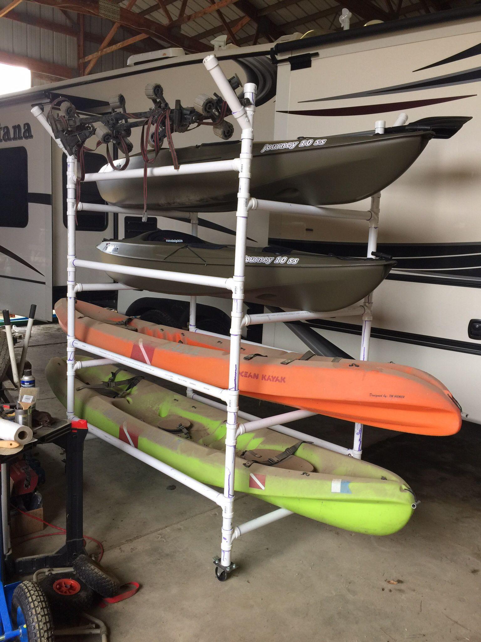 DIY Kayak Storage Rack  Homemade PVC kayak rack can store 4 kayaks paddles