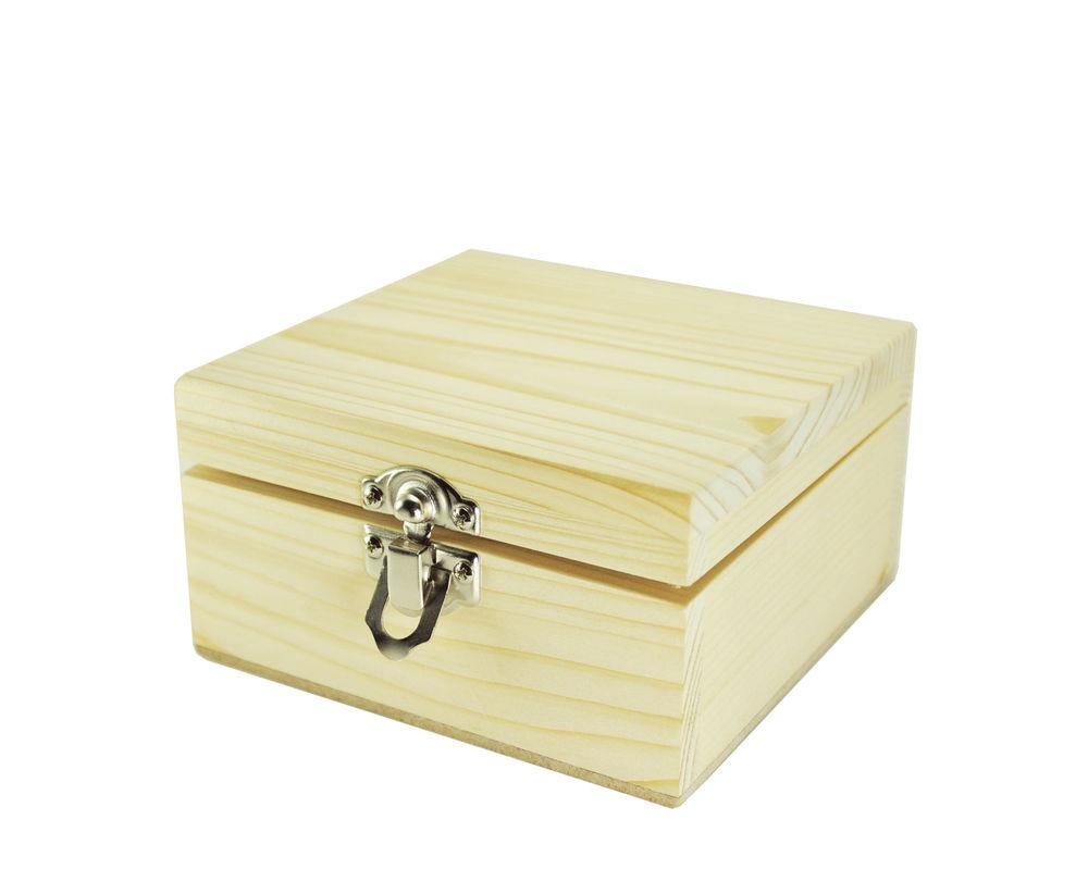 "DIY Lock Box  4 5"" Wood TREASURE CHEST Pirate Trinket Jewelry Lock Art"