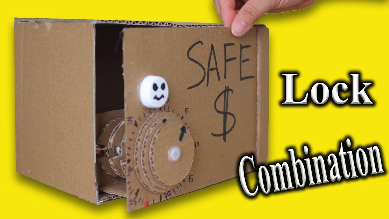 DIY Lock Box  Make Piggy Bank Safe from Cardboard Diy easy Safe box