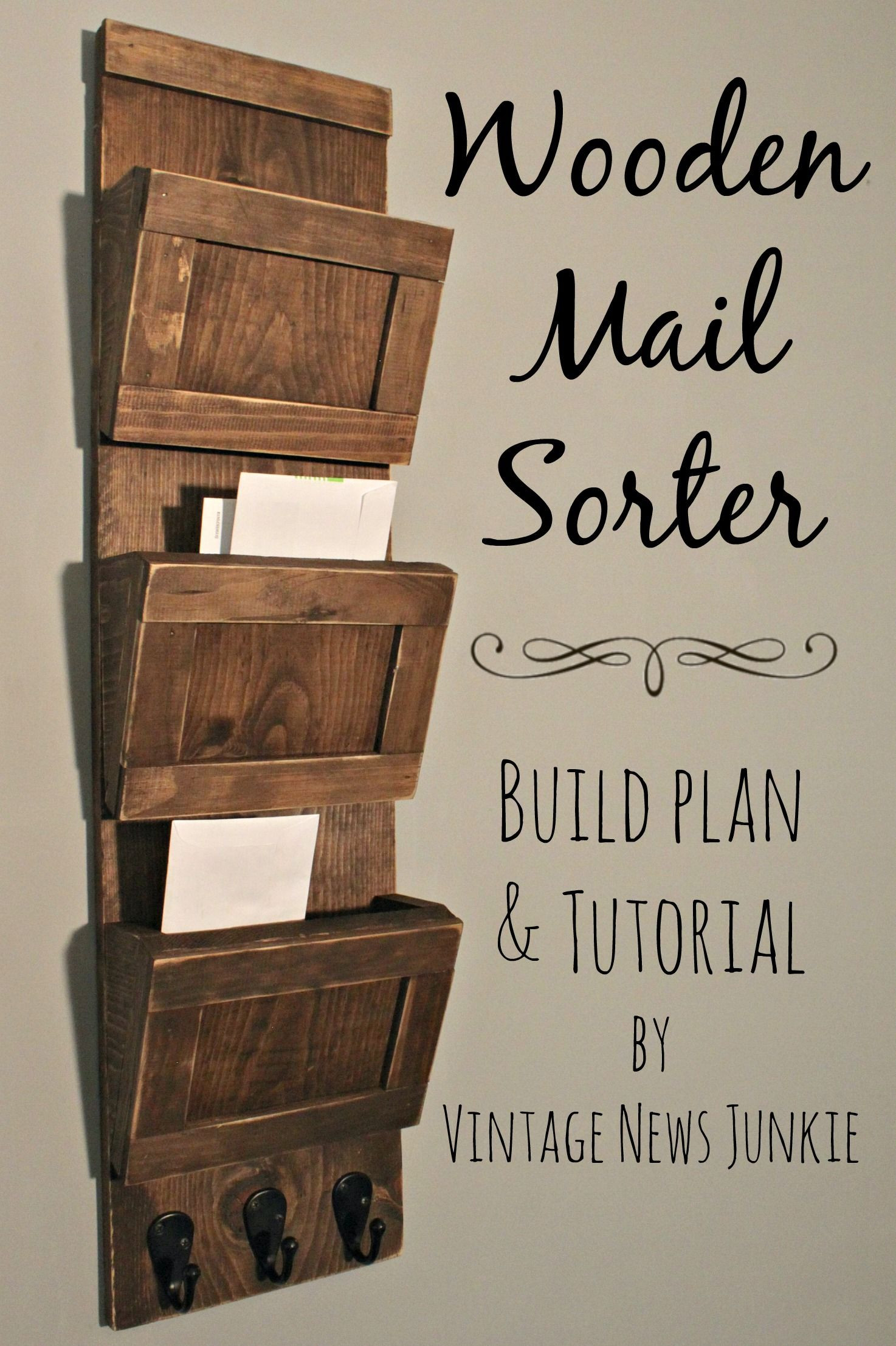 DIY Mail Organizer Wood  Mail Sorter on Pinterest