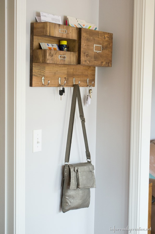 DIY Mail Organizer Wood  Wall Mail Organizer with Space for Keys Files and Bills