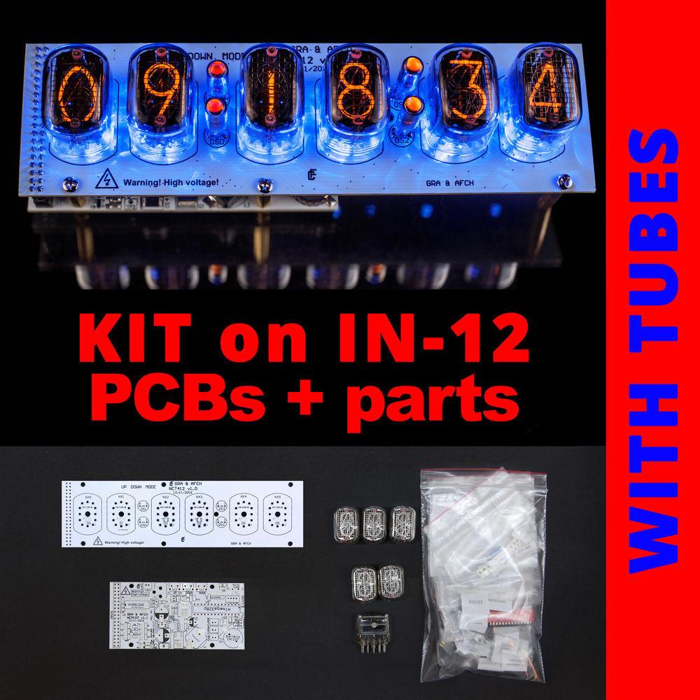 DIY Nixie Tube Clock Kit  Nixie Tubes Clock IN 12 DIY KIT PCBs ALL Parts Socket