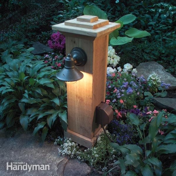 DIY Outdoor Lighting Without Electricity  How to Install Outdoor Lighting and Outlet
