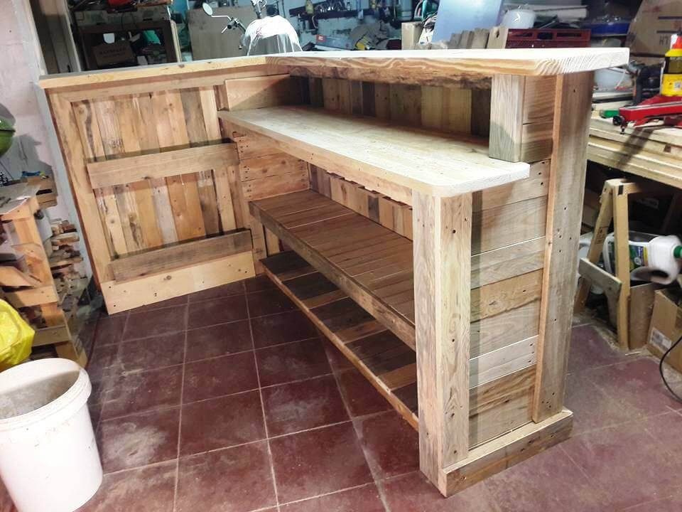 DIY Pallet Bar Plans  DIY Pallet Bar with Custom Built in Shelves Easy Pallet
