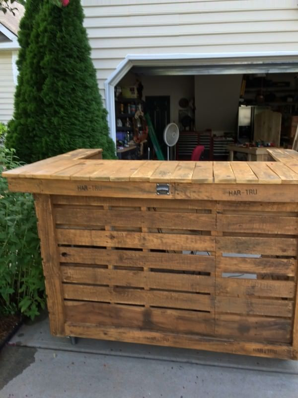 DIY Pallet Bar Plans  Backyard Pallet Bar Diy Pallets Pinterest