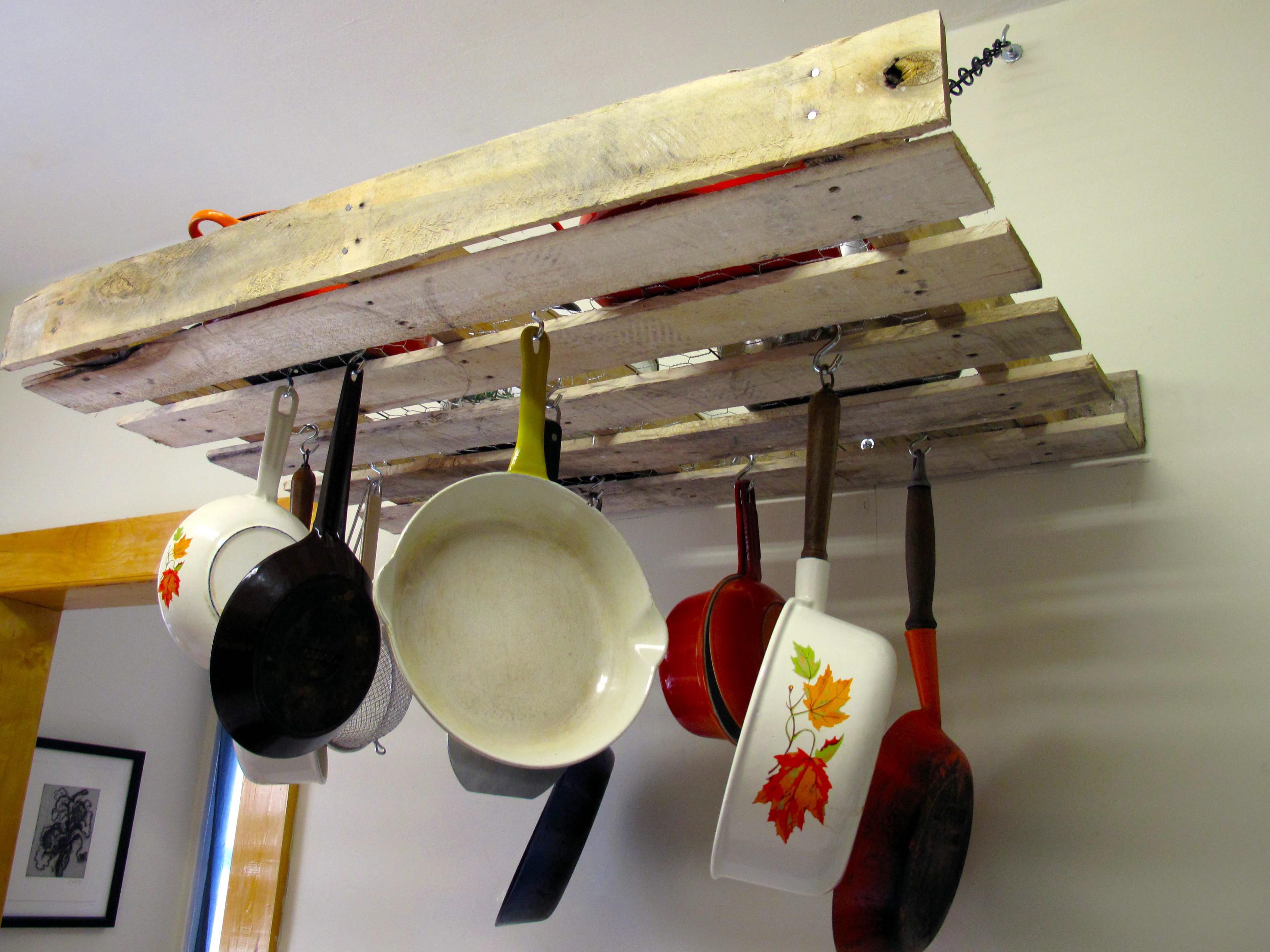 DIY Pots And Pans Rack  Home Improvements Pallet Pot Rack