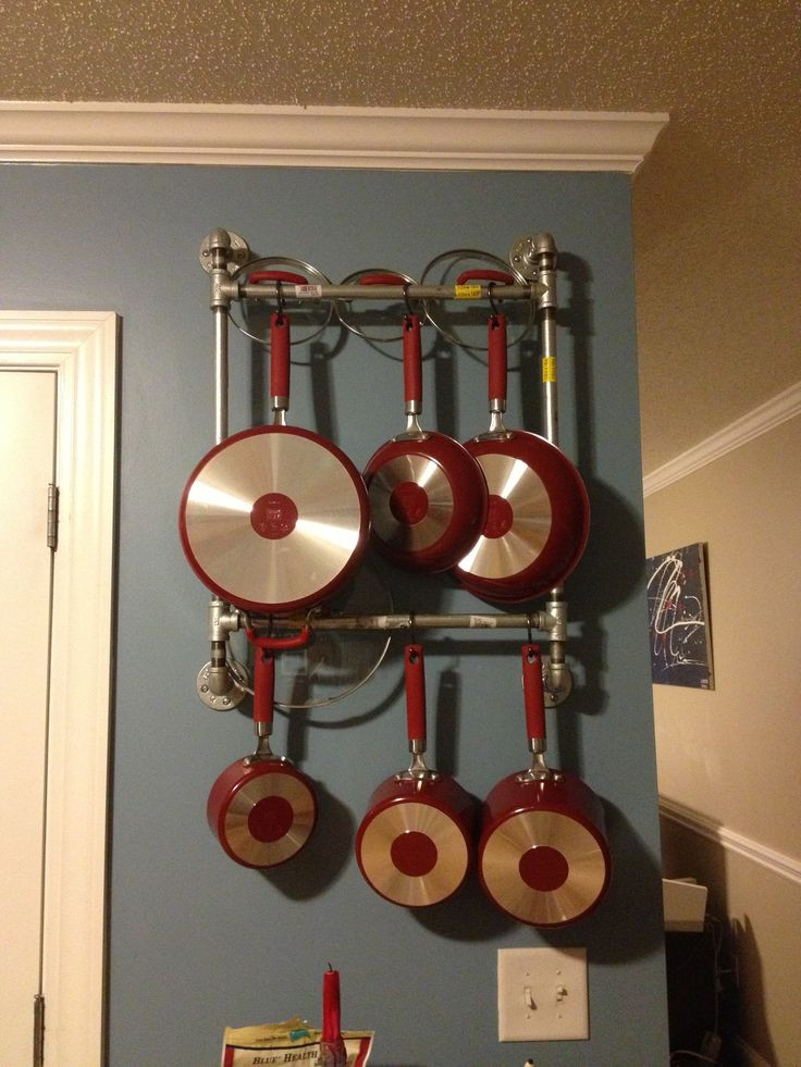 DIY Pots And Pans Rack  Easy DIY pot pan rack made out of pipes