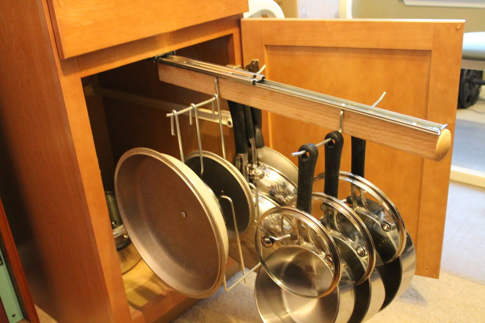 DIY Pots And Pans Rack  Legalized Pot Rack H D Pull Out Hanging Pot and Pan Lid