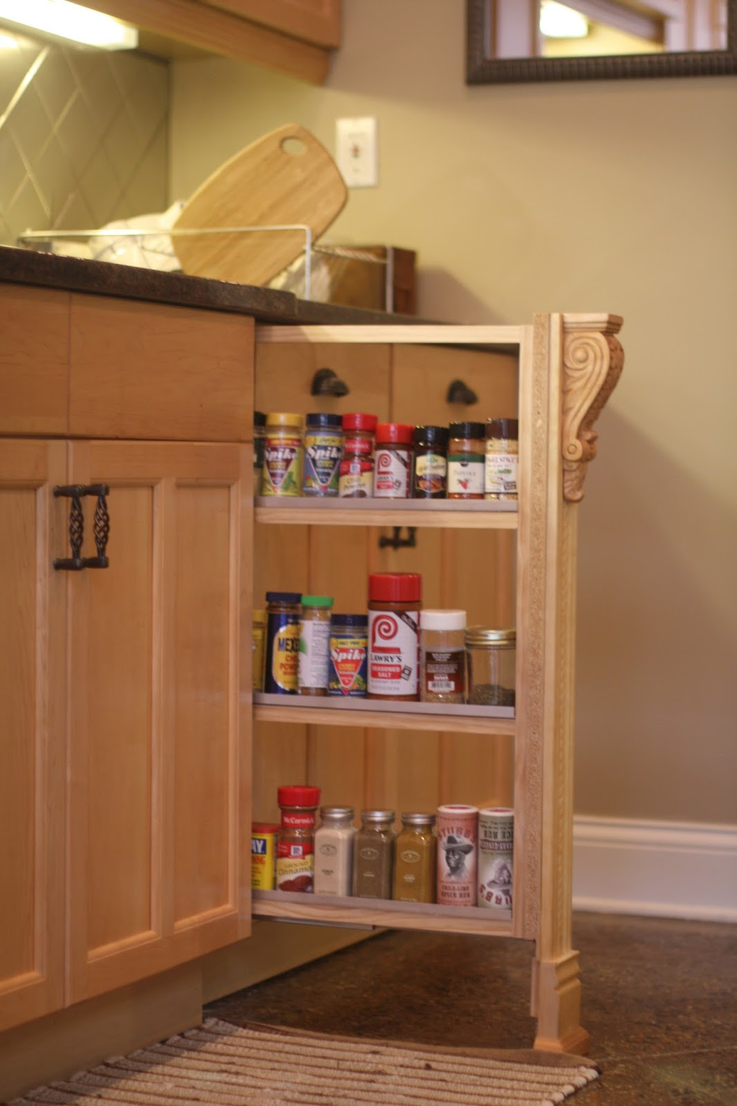 DIY Pull Out Spice Rack  DIY Slide out Spice Rack pleted HandyHubby