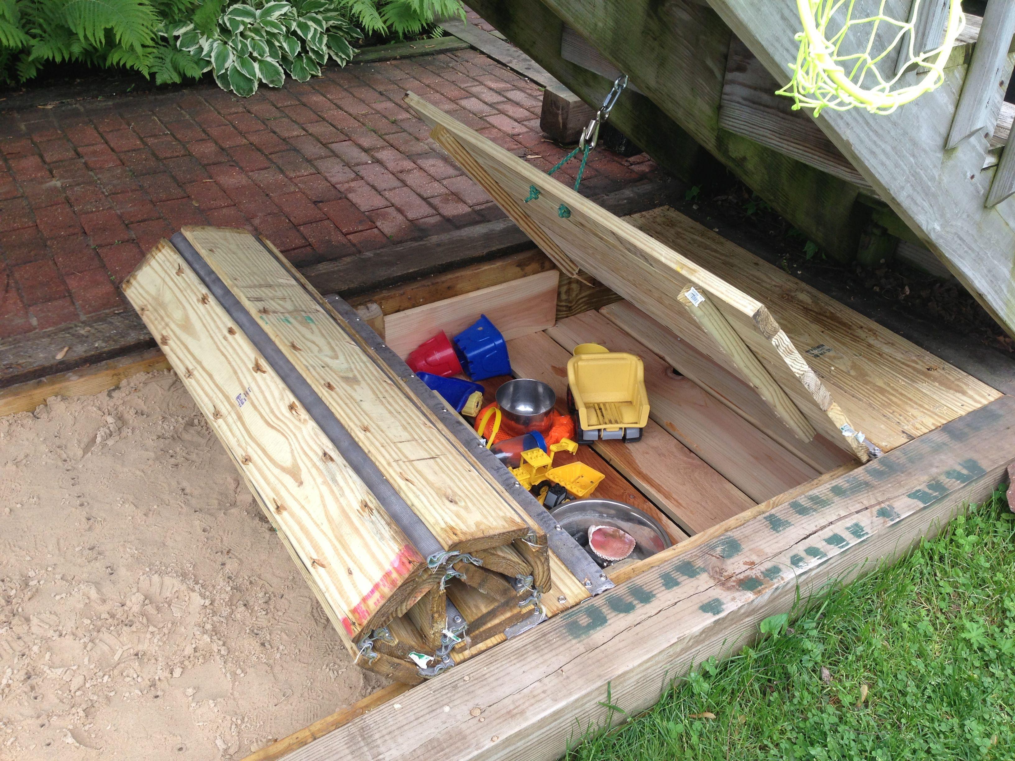 DIY Sandbox Cover  Retractable sandbox cover w toy box